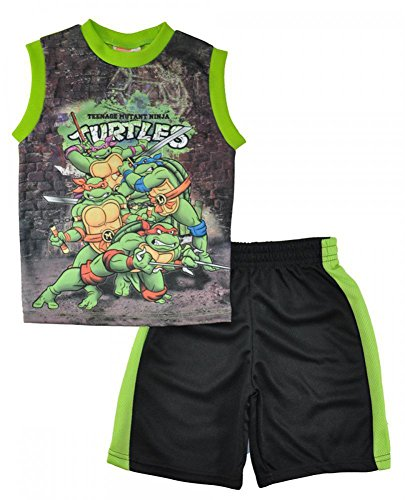Teenage Mutant Ninja Turtles Little Boys Character Print Top 2pc Short Set, Black 2165 3T ()