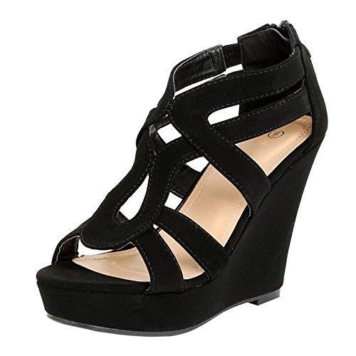 - TOP Moda Lindy-3 Women's Strappy Open Toe Platform Wedge (6.5 M US, Black)