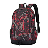 Cool Backpack for Teen Boys & Girls, Ricky-H Red/Black Men & Women's Graffiti