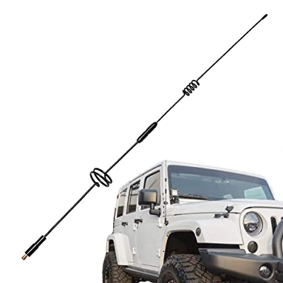 BASIKER 26 Inch Spring Steel Screw Thread Antenna for 2007-2020 Jeep Wrangler JK JKU JL JLU Rubicon Sahara | FM/AM Radio Reception & Unafraid Car Wash: Car Electronics