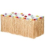 Kitchen & Housewares : Hawaiian Luau Grass Table Skirt | Includes Adhesive | Bonus 12 Hibiscus Flowers | Perfect, Beach, Tiki, Tropical Island, Party, Luau Decoration 9ft by Luau Essentials