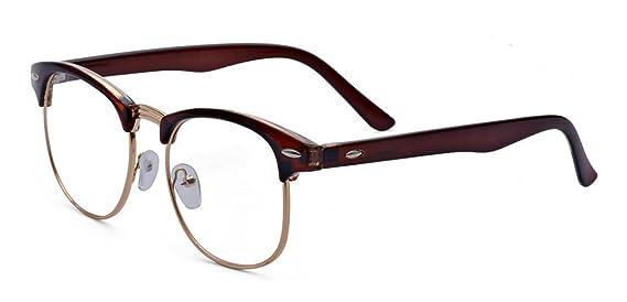 Outray, montatura per occhiali da vista, stile vintage, mezza cornice, tinta unita, a mezzo telaio Leapord Print Taglia unica