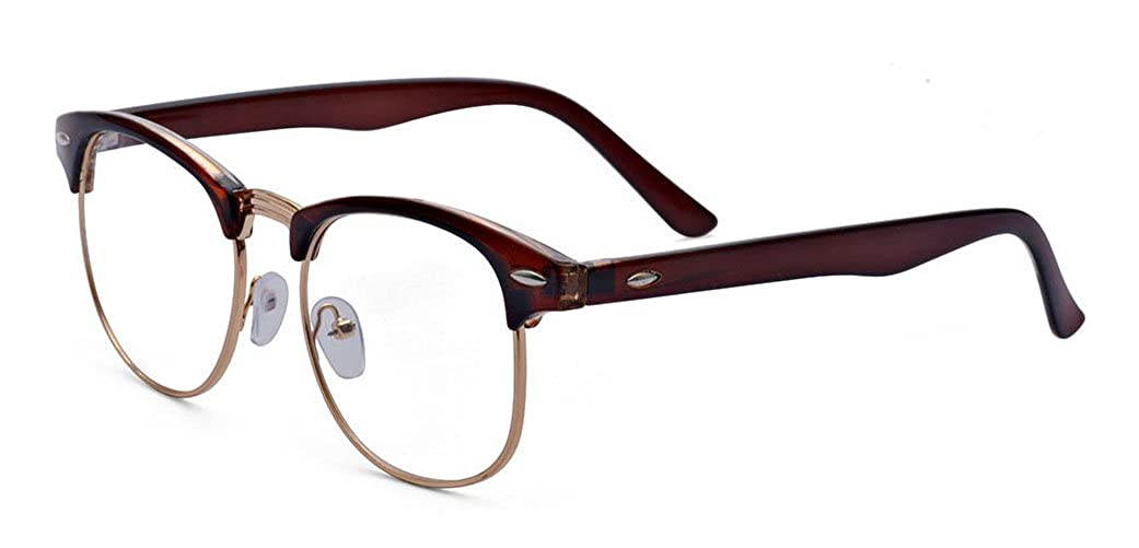 aff8552a05d7 Amazon.com  Outray Vintage Retro Classic Half Frame Horn Rimmed Clear Lens  Glasses 2135c3 Brown  Clothing