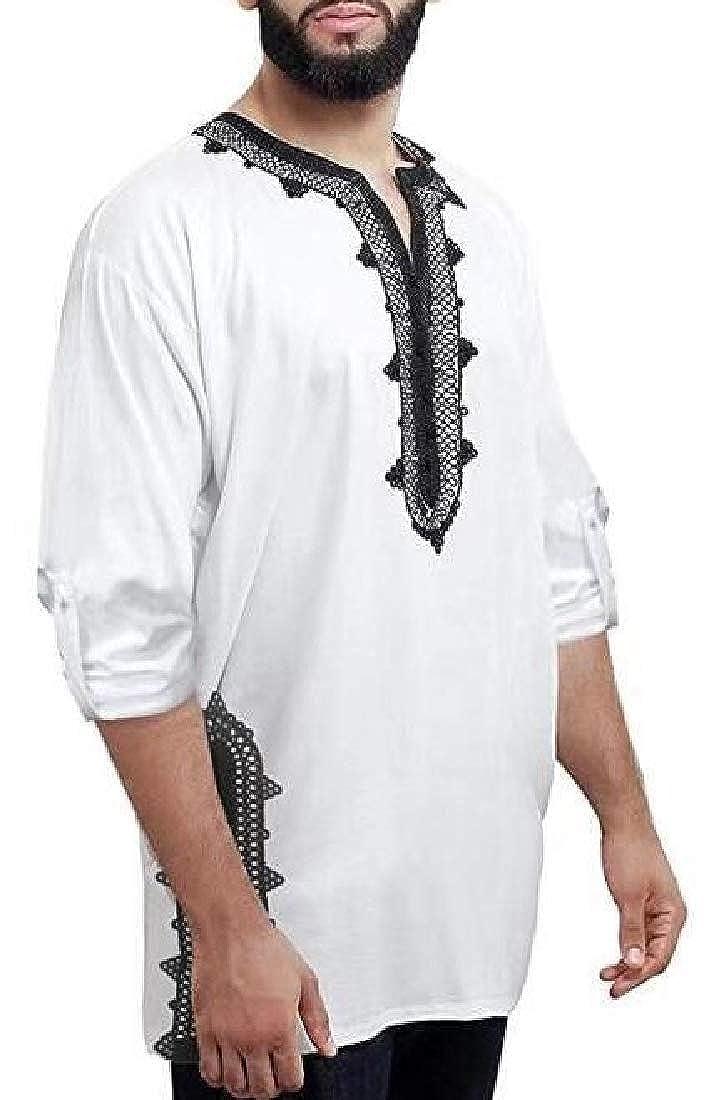 HTOOHTOOH Men Tunic T-Shirt Caftan Shirt Breathable Embroidery Ethnic Tops Tee