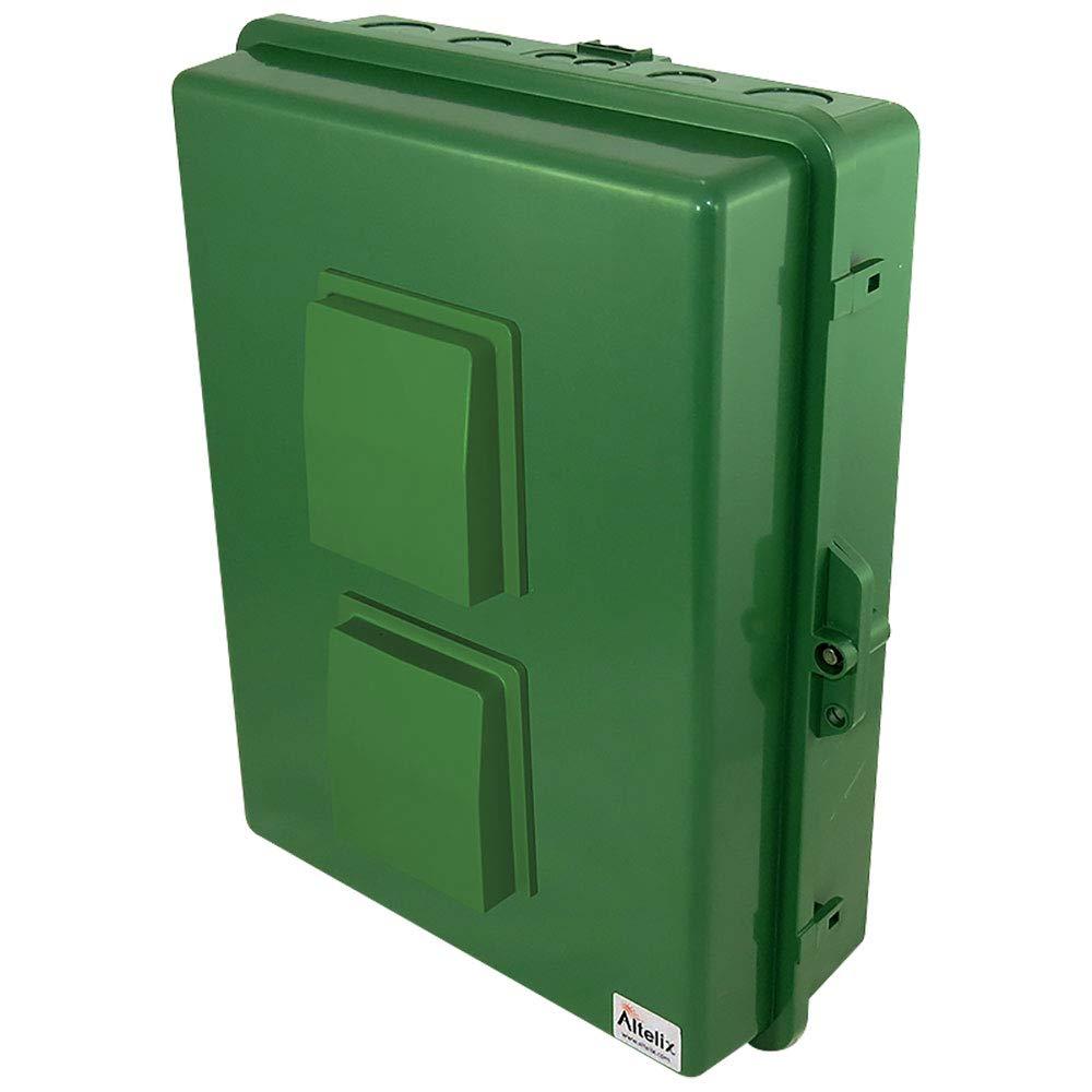 Altelix Green Vented NEMA Enclosure (14'' x 9'' x 4.2'' Inside Space) Polycarbonate + ABS Tamper Resistant Weatherproof Rainproof