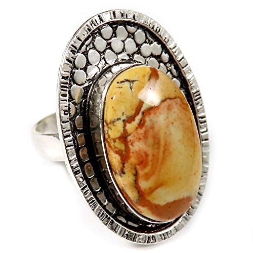 - GoyalCrafts Natural American Picture Jasper Ring US9 Silver Plated Handmade Jewelry GRN73