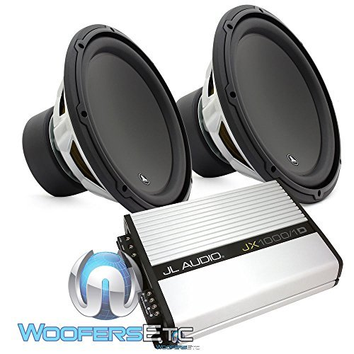 "pkg JL Audio Pair of 12W3V3-4 12"" 4-Ohm Subwoofer + JX10001D Monoblock Class D Amplifier"