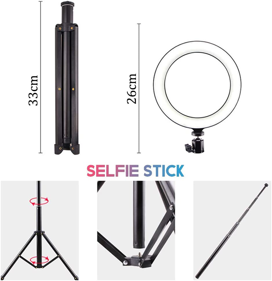 Ring light 26cm Kit 2800K-6200K Stepless dimming LED Fiash Light for YouTube Camera Photo Video