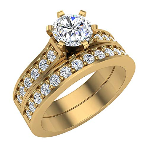 1.25 ct tw Cathedral Diamond Accented Bridal Wedding Ring Set 14K Yellow Gold (Ring Size 5.5)