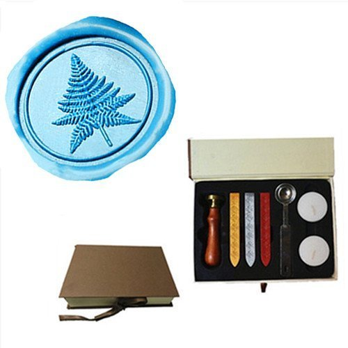 MNYR Vintage Tree Plant Leaf Decorative Wedding Invitations Gift Cards Paper Stationary Envelope Seals Wax Seal Stamp Sealing Wax Stamp Gift Box Candles Wax Sticks Melting Spoon Kit (Personalized Leaf Seals)