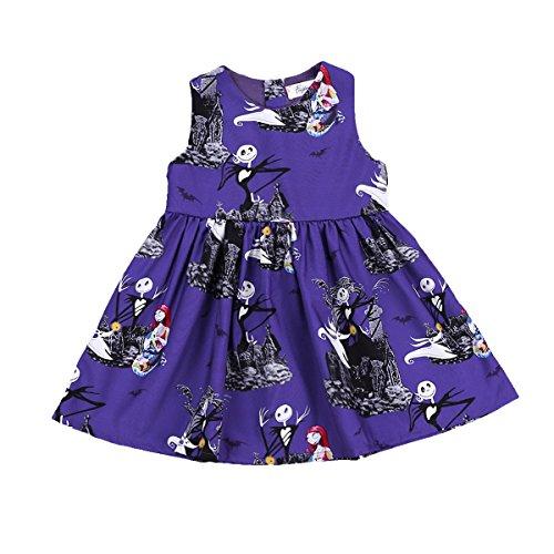 XiaoReddou Baby Girls Halloween Dress Cartoon Ghost Sleeveless Skirt (Dark Purple, 3-4 Years) ()