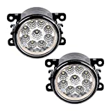1 Pair 55W LED Front Fog Lights Driving Lamp For Acura Ford Honda Jaguar Lincoln Nissan Subaru Suzuki