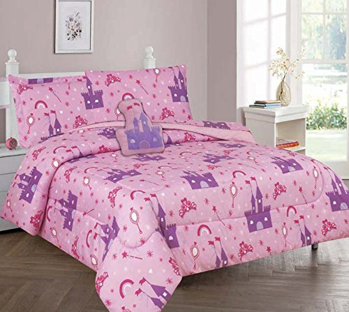 MB Collection Princess Palace Castle Design Pink Purple 6 Piece Comforter Bedding Set for Girls/Kids Bed in a Bag with Sheet Set & Decorative Toy Pillow # (Twin 6 Pieces) (Princess Bedding Collection)