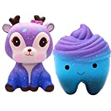 Squishy Animals Stress Toys, Squishy Kawaii Slow Rising jumbo Squeeze Toys for Kids and Adults (Deer- teeth)
