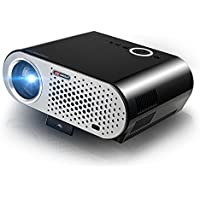 Projector, 3200 Lumens Brightness Home Projector Native 720P Support full HD 1080P 1280 x 800 Pixels Multimedia LCD LED Projector Up to 170 Screen with HDMI VGA USB Cinema Movie Projector, Black