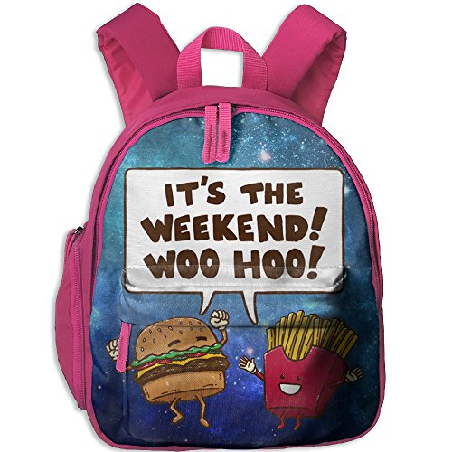 Price comparison product image The Weekend Burger And Fries Lover Toddler Kids Backpack Preschool Backpack Pink Mini Backpack