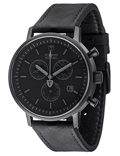 DETOMASO Men's Quartz Stainless Steel and Leather Casual Watch, Color:Black (Model: DT1052-Q)