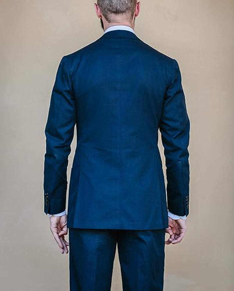 duorou Double Breast 2 Pieces Men Casual Suit Fashion Retro Vintage Set Men Outwear Blue 5dqgr