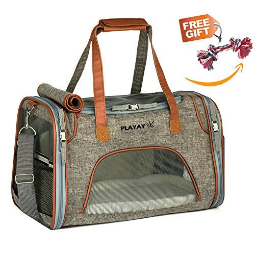 Playay Premium Airline Approved Soft Sided Pet Carrier, Low Profile Luxury Travel Bag with Fleece Bedding & Safety Lock, Under Seat Compatibility, Perfect for Cats and Small Dogs by Playay