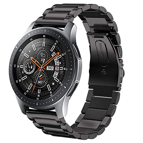 Compatible Samsung Gear S3 Frontier/Samsung Galaxy Watch 46mm Bands,22mm Metal Breathable Replacement Strap Quick-Release Pin for Gear S3 Frontier Smart Watch (Metal Black)