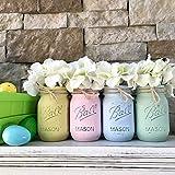 Mason Jar Centerpiece Set, Your Choice of Jar Colors, 3-4-5 piece sets, Pint or Quart Size, Silk Flowers Optional Review