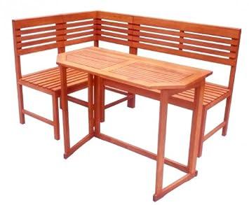 Banc d\'angle et table pour balcon-jardin avec banc d\'angle en bois ...