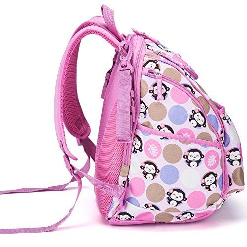 Centro de la mujer mochila pañal pañales bolsas 3piezas Mochila lunares 5colores blue dot Talla:mediano pink monkey
