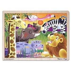 Melissa & Doug African Plains Safari Wooden Jigsaw Puzzle With Storage Tray (24 pcs)