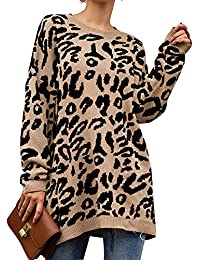 Women's Casual Leopard Print Long Sleeve Crew Neck Knitted Oversized Pullover Sweaters Tops
