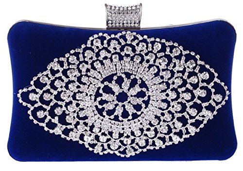 Bettyhome Women Velvet Series-Elegance Rhinestone Suede Evening Bag Wedding Bridal Clutches Party Prom Purse Diff Color (blue)