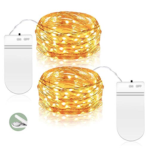 ANJAYLIA Fairy String Lights, 9.8ft 30LEDs String Lights Battery Operated, Waterproof Warm White Starry Fairy Lights on Copper Wire, Home Decor Christmas Lights (2 Pack)