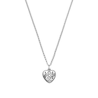 651dc1025 Amazon.com: Gucci Women's 45cm Blind for Love Heart Necklace Silver Necklace:  Jewelry