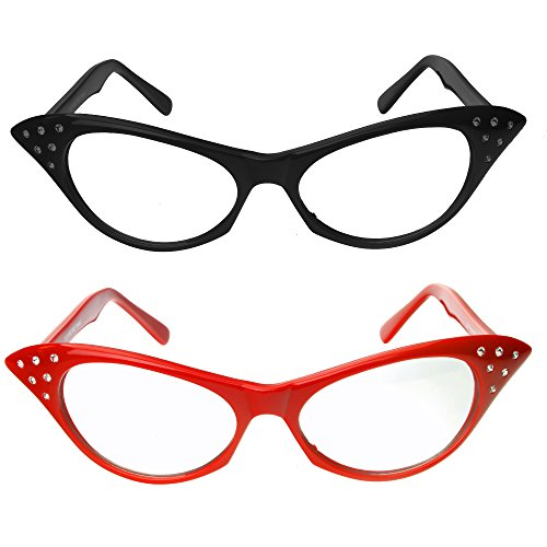 Red & Black Cat Eye Glasses with Rhinestones - 50's 60's Retro Cateye Glasses (2 Pack) ()