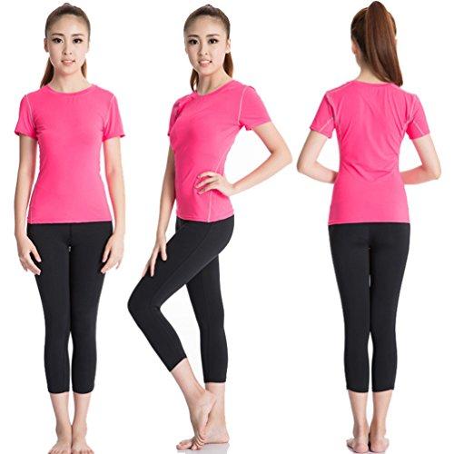 ZKOO Mujeres Del Deporte Yoga Al Aire Libre En Ejecucion De La Camiseta De Manga Corta De Secado Rapido De Manga Corta Rosa
