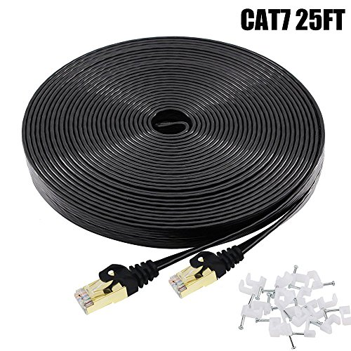 - Cat7 Ethernet Cable 25 FT Black, BUSOHE Cat-7 Flat RJ45 Computer Internet LAN Network Ethernet Patch Cable Cord - 25 Feet