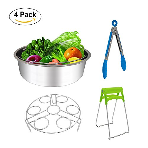 Steamer Basket Stainless Steel for Instant Pot Accessories 6/8qt Pressure Cooker with Egg Steamer Rack,Bowl Dish Clip, Silicone Kitchen Tong- 4 Pieces Steamer Stainless Steel Cover