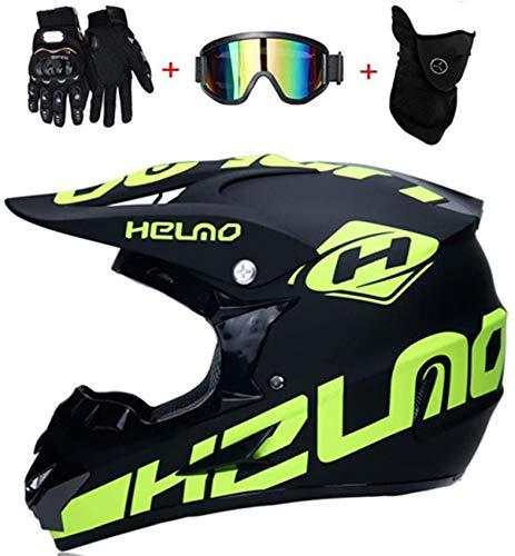 YXLM Motocross-Helm, Schwarz, Gelb, Mountainbike-Helm für Herren, Motocross-Helm, DOT zertifiziert, für Erwachsene…