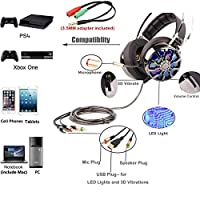 Gaming Headset - PC PS4 Xbox One USB Gaming Headphones with Mic, 7.1 Surround 3D Vibration Virtual Sound Noise Cancelling with 4 Dynamic Driver Unit Speaker LED Light by KINDEN