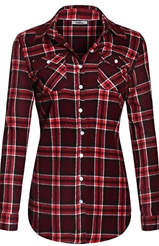 Burgundy Flannel (BodiLove Women's Warm Flannel Long Roll up Sleeve Button up Plaid Shirt White Burgundy M)