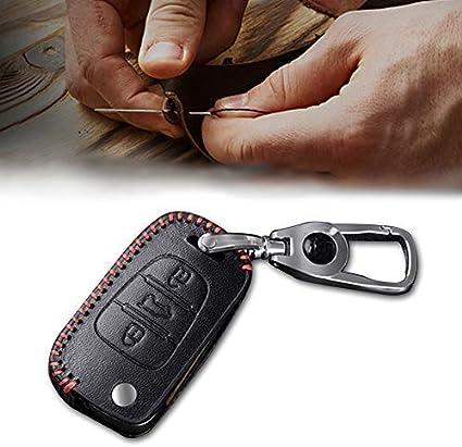 Image ofCarcasa Cuero para Llave KIA 3 Botones Llave Control Remoto Plegable línea roja con Llaveros 1 PC Modelo B