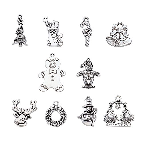 Beadthoven Christmas Jewelry Alloy Pendant Sets with Santa Claus Milu Deer Snowman Wreath Crutch Gingerbread Christmas Tree Bell and Socks Charms for Christmas Jewelry DIY Crafts -