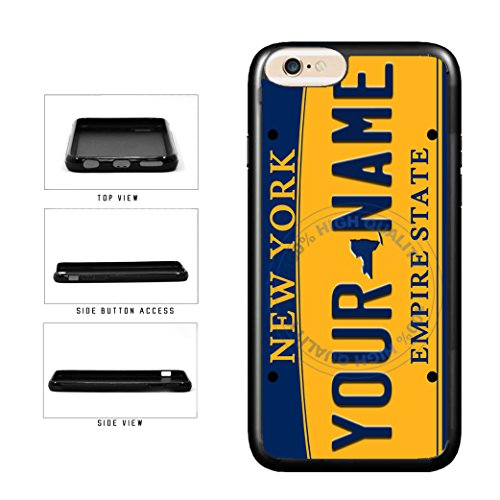 BleuReign(TM) Personalized Custom Name New York State License Plate TPU RUBBER SILICONE Phone Case Back Cover For Apple iPhone 8 and iPhone 7 (New York Rangers Iphone 4 Case)