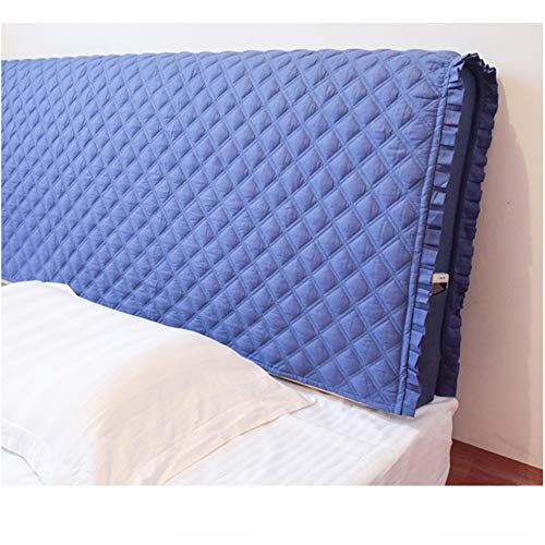PPGE Home Cotton Bed Headboard Slipcover Stretch Wooden Leather Protector Dustproof Cover Thicken Anti-Collision Bedside Cushion for Bedroom Decor,Blue2-15065cm - Headboard Slipcover Cotton