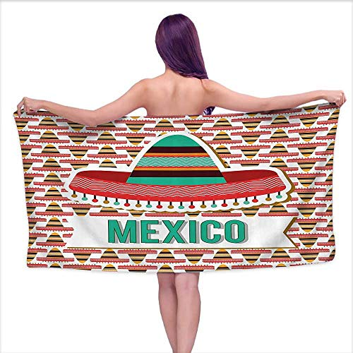 Glifporia Absorbent Towel Mexican Decorations Collection,Mexico Design Cultural Ethnic Hat Costume Tradition Patriotism Emblem Pattern,Mint Cream Red,W20 xL39 for Kids Mickey Mouse ()