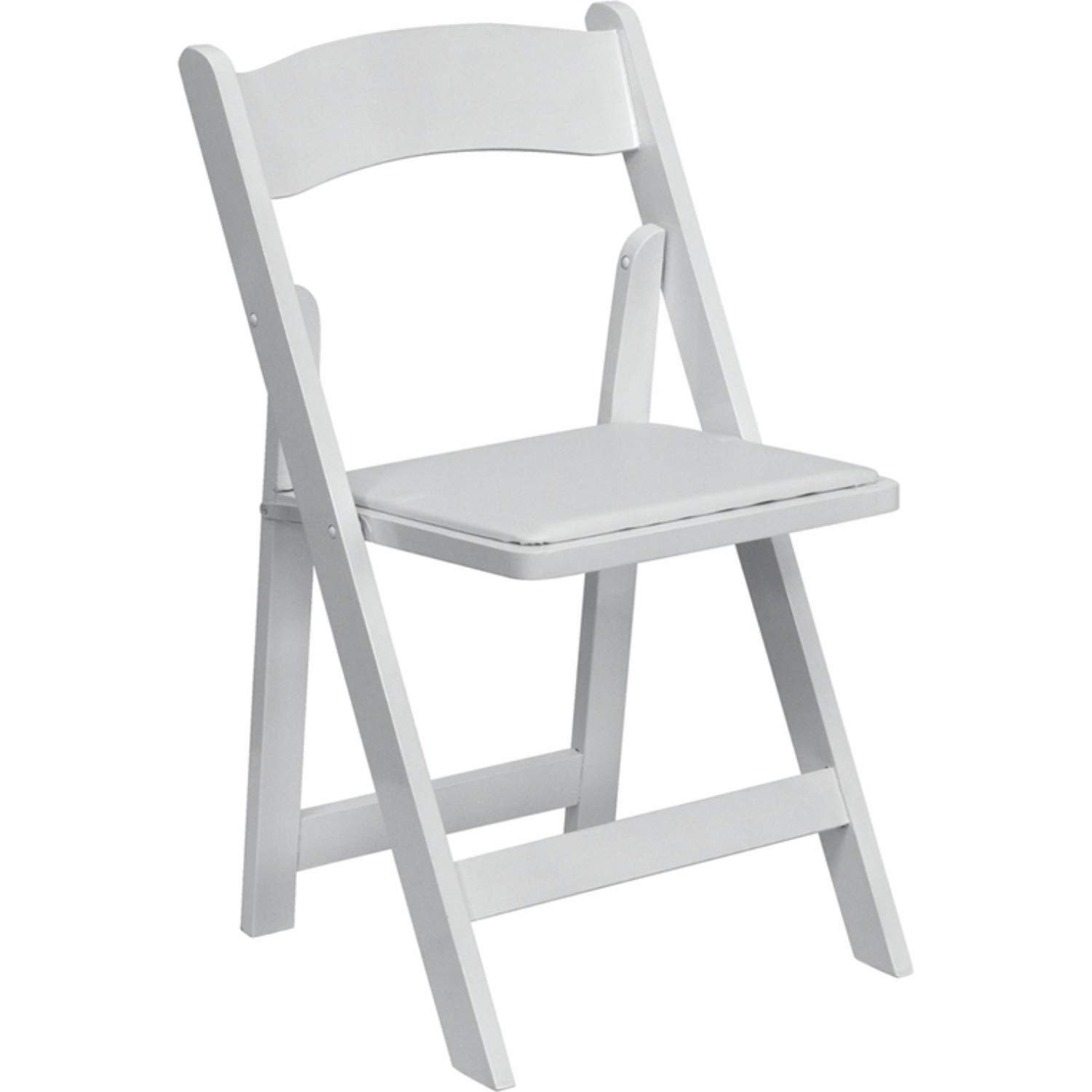 Offex OFX-89936-FF Wood Folding Chair with Vinyl Padded Seat - White by Offex (Image #1)