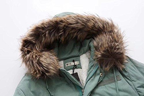 ... NiSeng Damen Steppmantel Winter Warme Outwear Mantel Pelzkragen Mit  Kapuze Langarm Wintermantel Winterjacke Parka Hell Grün ...