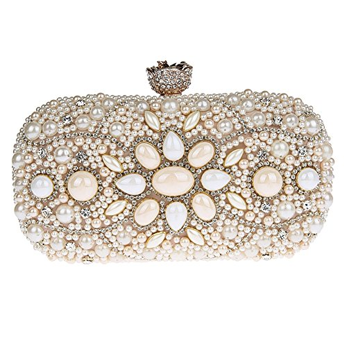 Glamorous Clutch Purse (Albabara Floral Beaded Bag Beading Evening Bags Beads Clutch Purse, Champagne)