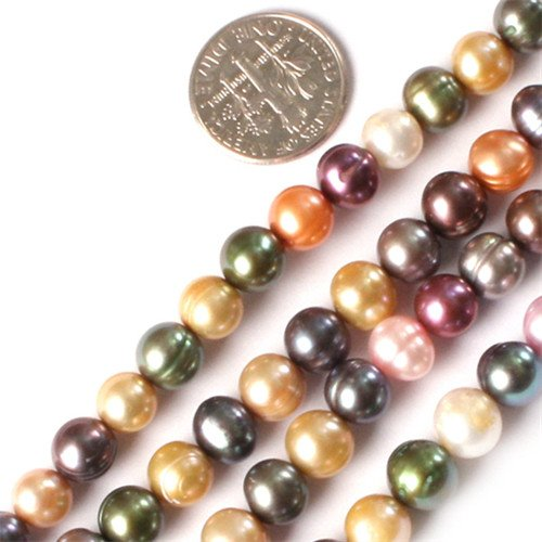 GEM-inside 7-8MM Round Mixed Color Freshwaterl Cultured Pearl Beads Strand 15 Inches Jewelry Making (Freshwater Pearls Bead Sets)