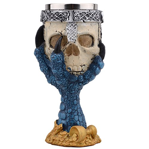Horror Stainless Steel Goblet 3D Skull Skeleton Claw Wine Glasses Glass Beer Steins Halloween Party Drinking Glass Whiskey Cup 1 (Halloween Party Asu)