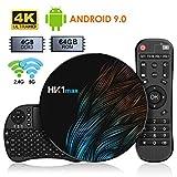 Android 9.0 TV Box【4G+64G】con Mini Teclado inalámbirco con touchpad RK3318 Quad-Core 64bit Wi-Fi-Dual 5G/2.4G,BT 4.1, 4K*2K UHD H.265, HDMI, USB 3.0 Smart TV Box